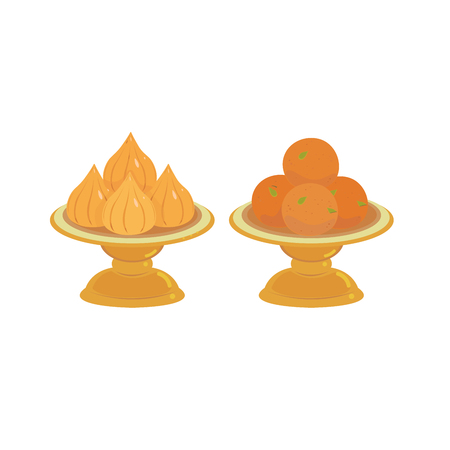 Vector of modak and kalash in pedestal tray. 向量圖像