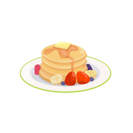 Pancake with honey and butter with fruits.