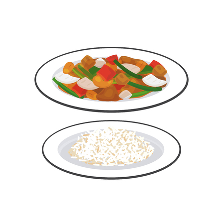 Stir fired chicken with cashew nuts serve with a dish of rice.