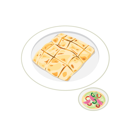Traditionelles Essen. Eine Art muslimisches und indisches Essen, serviert mit Gurkenscheiben und Zwiebeln in Essig.