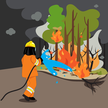 Vector of firefighters are extinguishing the wildfire.