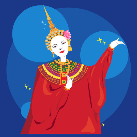Vector of thailand puppet show on blue background.