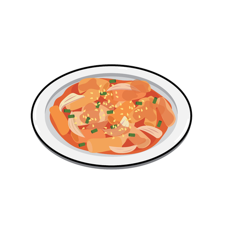 Korean dish spicy tokpokki on white backgroubd. Ilustrace