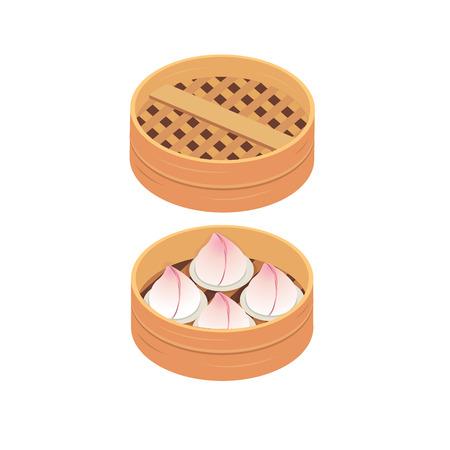Chinese birthday peach steamed buns