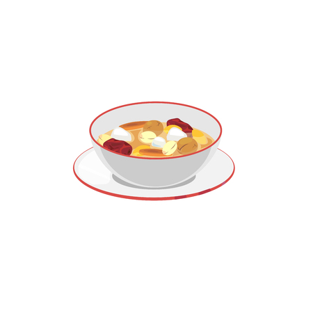 A bowl of chinese treaditional sweet dessert. Illustration