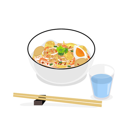 Thai style noodle, tom yum soup with minced pork, dry shrimp, boiled egg and pork snack. Illustration