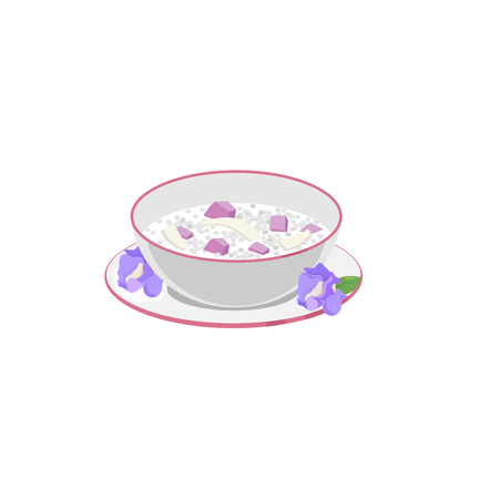 Thai dessert with sago taro flour and coconut milk. 版權商用圖片 - 124162189