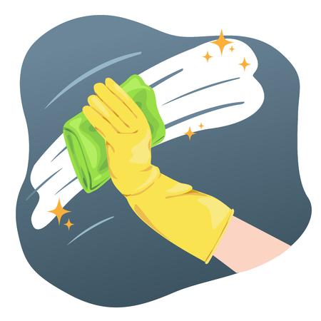 Hand mit Handschuhen, die Wand oder Glas reinigen.