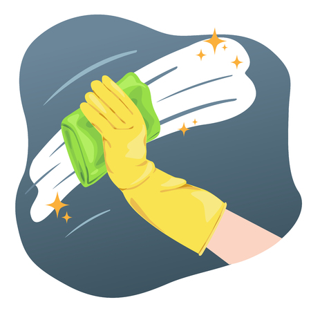 Hand wearing gloves cleaning wall or glass.