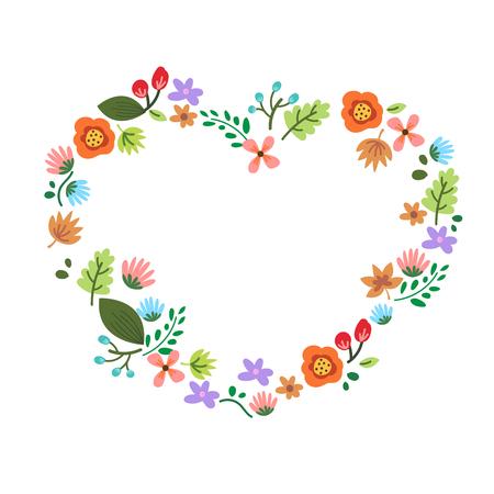 Text Frame , flower and leaf design in hart shape.