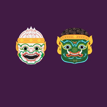 Vector de máscara tradicional tailandesa - Hua Khon.