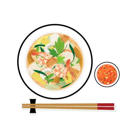A bowl of sukiyaki mixed seafood and vegetables.
