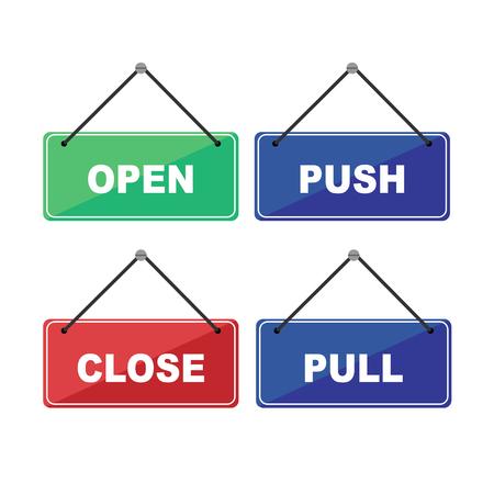 Vector openen, sluiten, duwen, trekken aan label met tekst.