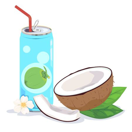 Coconut milk or coconut juice in can and copra.