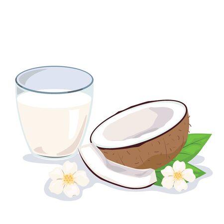 Un vaso de leche de coco y copra sobre fondo blanco.
