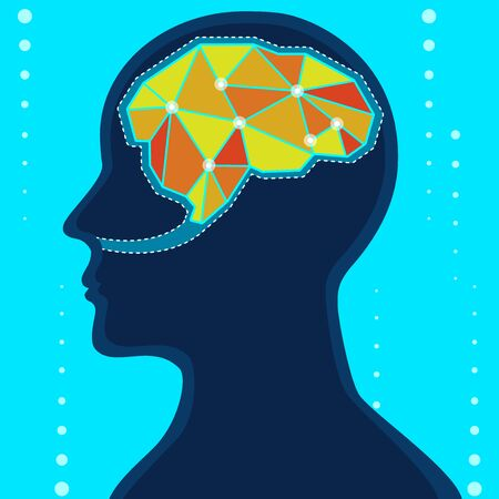 Vector of people have bright and clear brain, ready to work. 向量圖像