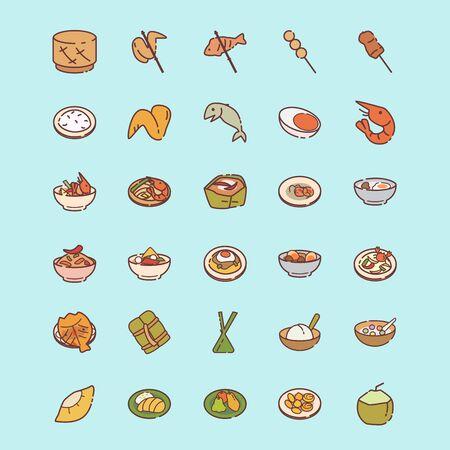 Set of thai food icon - thai street food. 向量圖像