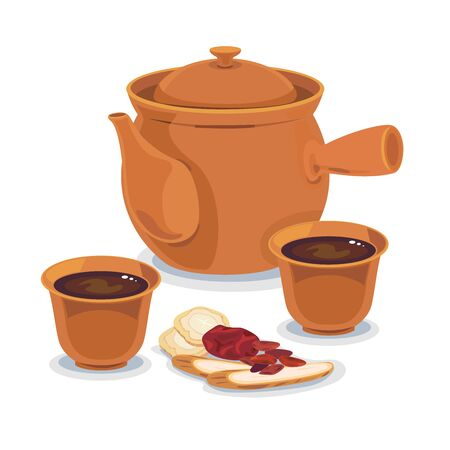 Tea pot and a hot cup of mixed chinese herb, chinese medicine. Illustration