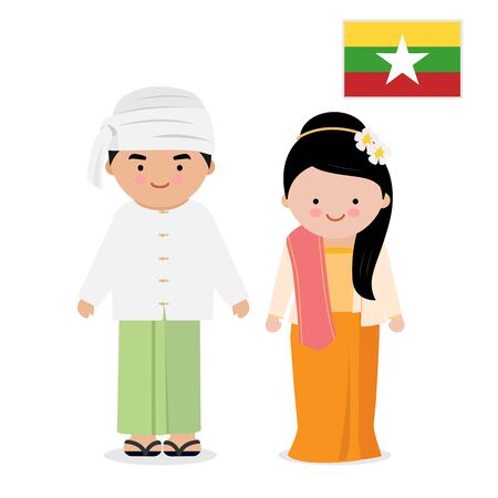 Woman and man wearing traditional dress, Myanmar. Иллюстрация