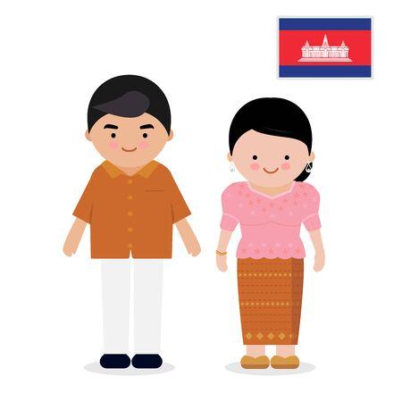 Woman and man wearing traditional dress - cambodia. Ilustração