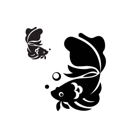 Vector of siam fighting fish - black and white colour