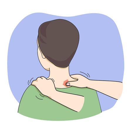 Vektor der Schulter- und Nackenmassage.