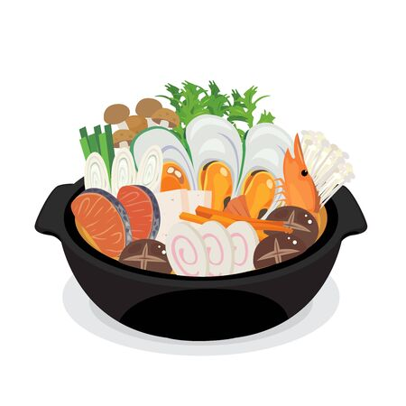 Vector of seafood japanese hot pot.