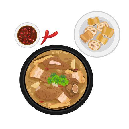 A bowl of hot soup - bak kut teh with deep-fried dough stick.