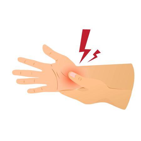 Vector of hand pain- rubbing hand. Illusztráció