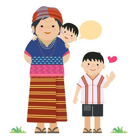 Familia Karen - madre e hijos vistiendo telas tradicionales. Ilustración de vector