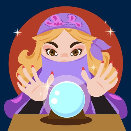 A fortune teller and crystal ball.