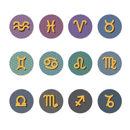 Colorful zodiac sign set on white background.