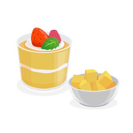 chinese mango pudding and fresh mango.
