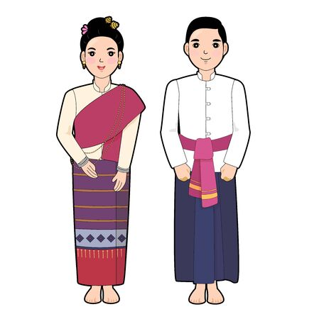 Woman and man in northen of thai traditional dress.