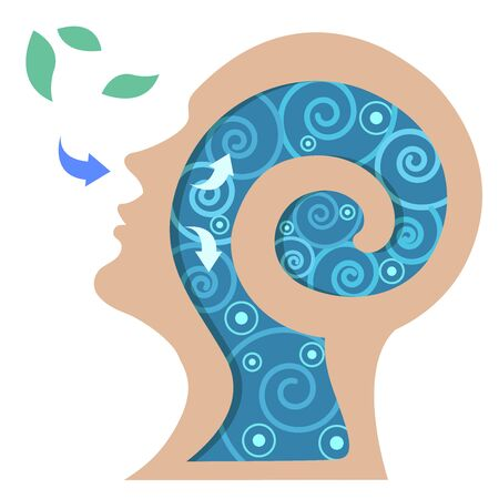 Vector of people sleeping or breathing for good health and mind.