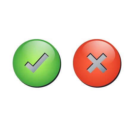 Button tick and cross signs vector.