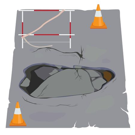 Vector of road collapses with cracks. Ilustrace
