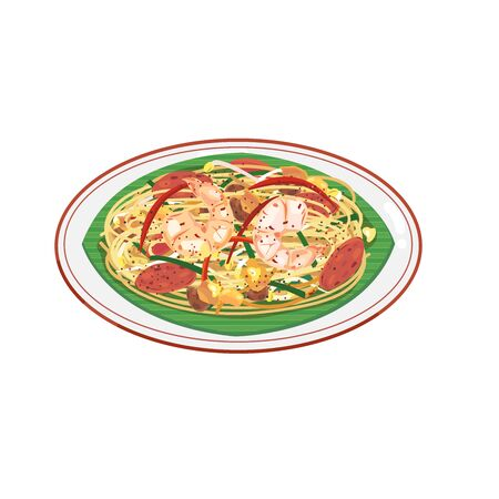 Malaysian food stir-fired noodle with seafood and egg. Illustration