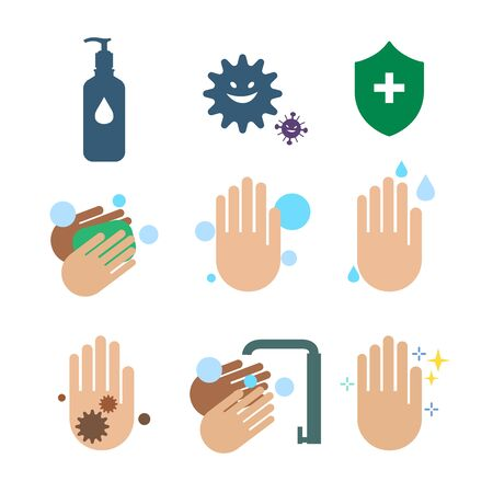 Cleaning hand with alcohol gel protect bacteria. Vector Illustration