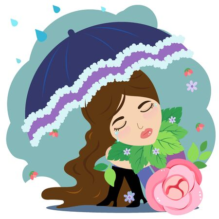 Cute lady crying hold umbrella in her hand have rainfall. Illustration
