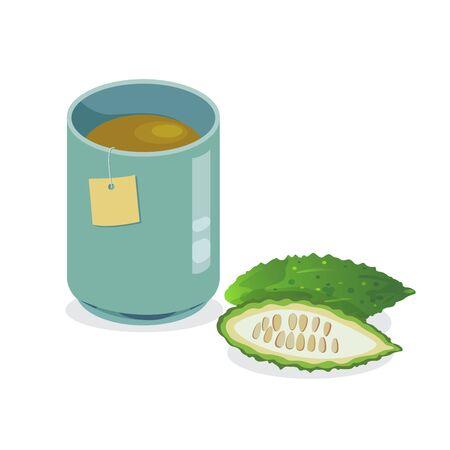 A cup of hot bitter gourd tea. Vektorgrafik