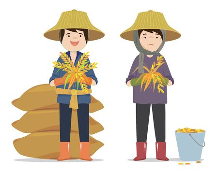 Vector of farmer harvesting good and bad quality. Vector Illustration