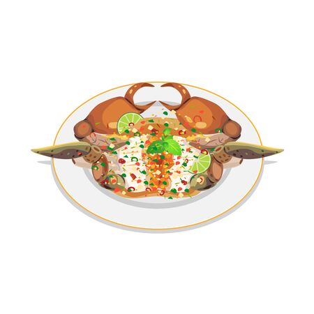 Fresh crab topped with spicy salad, seafood sauce.  イラスト・ベクター素材
