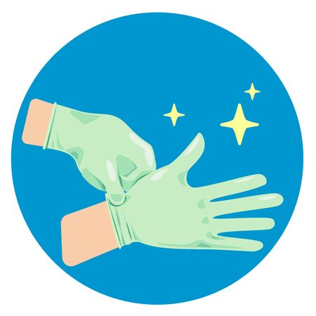Hand wearing gloves to protect or safety.