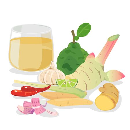 Thai herbal drink for health - sour , bitter, scent. 向量圖像