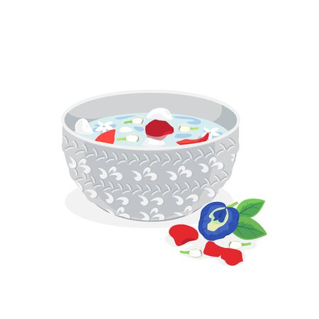 Cold water with jasmine and rose in a bowl.
