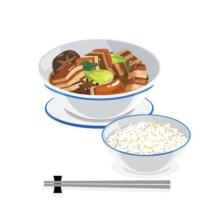 Taiwan food - braised pork belly and rice. Vector Illustratie