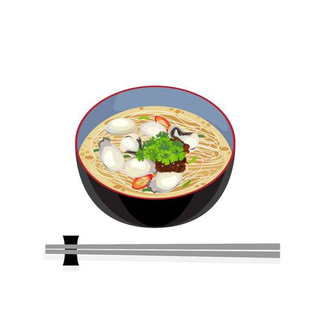 Taiwan food - noodle in hot soup with fresh oyster. Illustration