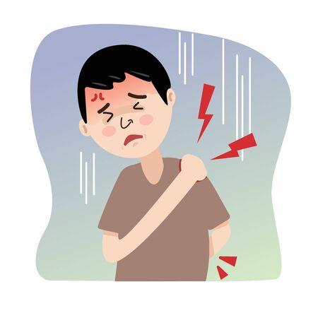 Cartoon- Man has shoulder and back pain.