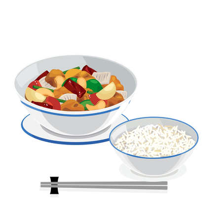 Chinese food - sweet and sour chicken or pork fried with cashew nut and rice.  イラスト・ベクター素材